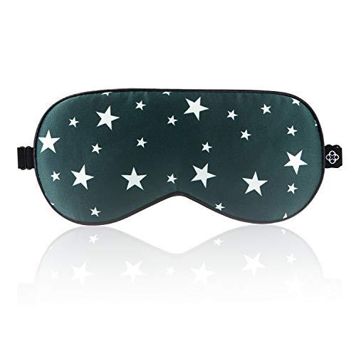 LONFROTE verstellbar Sterne Seide Schlaf Augenmaske Schlafmaske mit Ohrstöpsel und Tragetasche, leicht & bequem, super weiches Material für herren und Frauen Reisen Funktioniert Schlafbrille