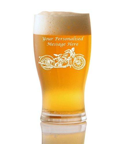 Gravure personnalisée (jusqu'à 20caractères) 1pinte bière tulipe en verre avec Harley Davidson Design