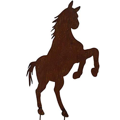 EQT-TEC Premium Gartendekoration Edelrost Pferd 63 cm Rostfigur Garten Roststecker Rostoptik Tier Dekoration