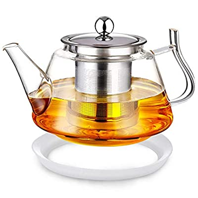 SOTYA 25 OZ Glass Teapot with Removable Stainless Steel Infuser, Borosilicate Glass Tea Kettle, Blooming Loose Leaf Teapots