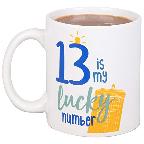 Doctor Who Keramik-Kaffeebecher – 13 is My Lucky Number – 13th Doctor Tardis Design – 325 ml