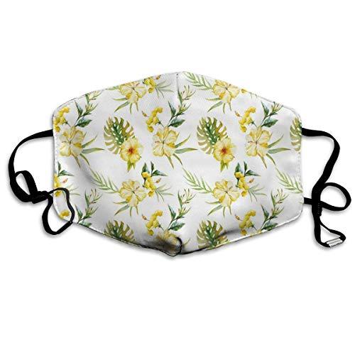 Sanitary beschermhoes, bloemenpatroon van hibiscus bloemen, Hawaii-planten, jungle-bladeren, zomerbladen, stofdicht, verstelbare gezichtsbescherming voor het oor