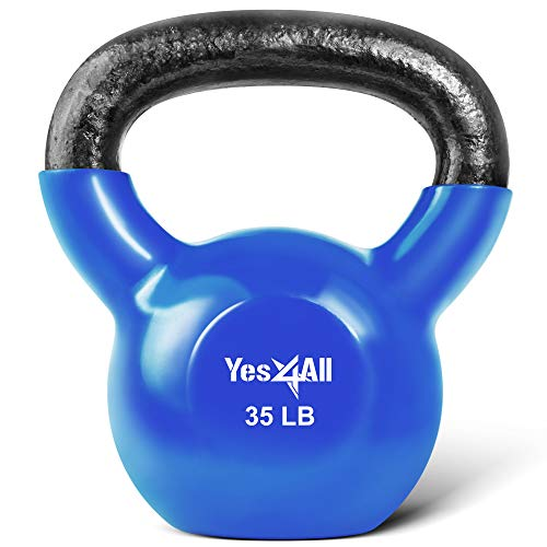 Yes4All Vinyl Coated Kettlebell Weights Set – Great for Full Body Workout and Strength Training – Vinyl Kettlebell 35 lbs (KVWK), H. 35lbs - Dark Blue