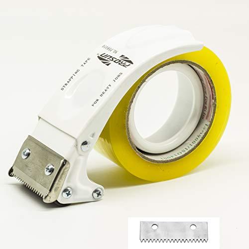 professional PROSUN Manual 2 inch Metal Tape Gun Dispenser, Package Cutter (White)