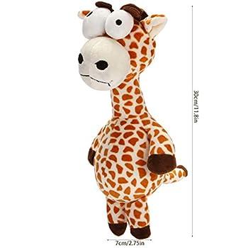 HOLECO Chein Jouet en Peluche Jouets à couinement Interactive pour Petits et Moyens Chiens(Girafe)