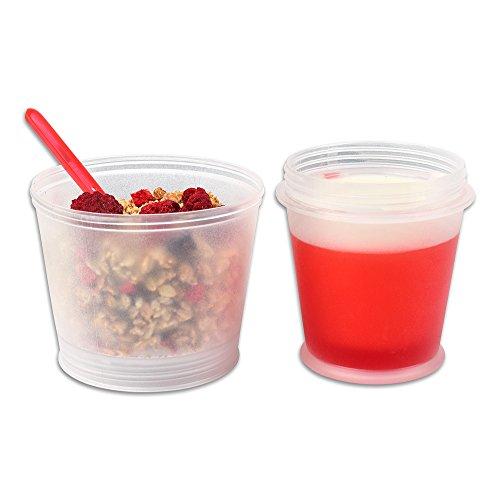 Schramm® Joghurtbecher 7 Farben to go Müsli-to-Go Müslibecher mit integriertem Kühlfach und Löffel Müslischale Joghurt Becher Müslibehälter Joghurtbehälter für unterwegs, Farbe:Rot