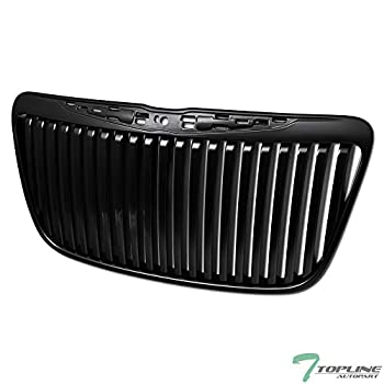 Topline Autopart Matte Black RR Luxury Vertical Front Hood Bumper Grill Grille ABS For 11-14 Chrysler 300 / 300C