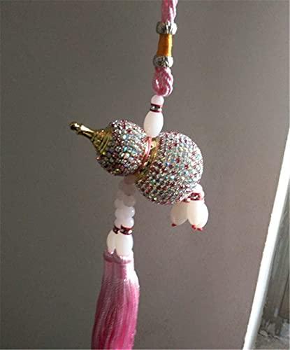 leoye Adorno de coche para decoración del hogar, cristal hecho a mano, botella de perfume de calabaza para automóvil, espejo retrovisor interior, colgante MirPendaye (color: rosa)