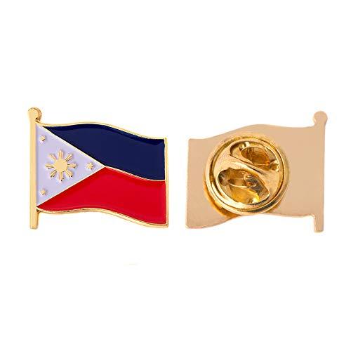 Philippines Country Enamel Made of Metal Souvenir Hat Men Women Patriotic (Waving Flag Lapel Pin)