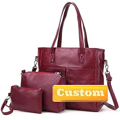 Nombre Personalizado Top Manija Handbags Bolso de Cuero Suave Organizador Bolsos para Mujer Set 3pcs (Color : Jiuhongse, Size : One Size)
