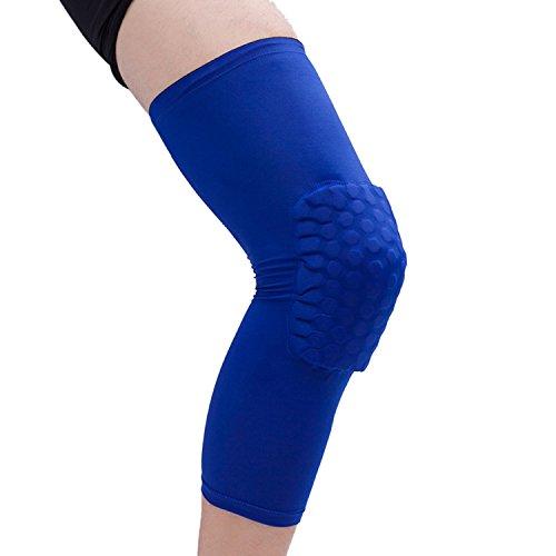 Panegy résistant aux chocs en nid d'abeille pour le genou Compression à manches antidérapants jambe protection pour course à pied Basketball Football, Homme Fille Enfant femme, bleu