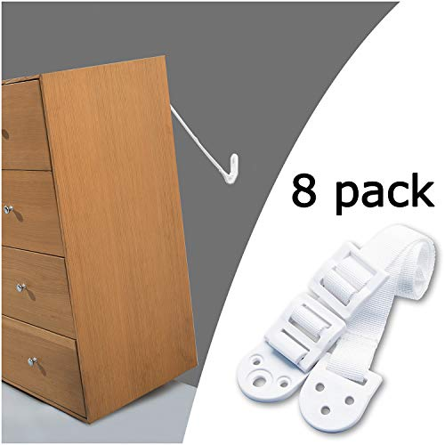 Kiddo House Anchors For Baby Proofing-8 Pack-Anti Tip Kit Protect Children From Falling-Adjustable Straps-For Dressers, Tv, Bookshelves And Other Furniture, White
