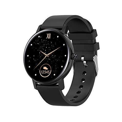 LYB Reloj inteligente para mujer y hombre, Full Touch impermeable, frecuencia cardíaca, multipe deportivo, AMOLED 390 x 390 HD, pantalla inteligente, color negro