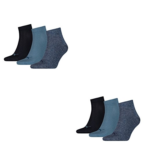 Puma 6 Paar Unisex Quarter Socken Sneaker Gr. 35-49 für Damen Herren Füßlinge, Socken & Strümpfe:39-42, Farbe:460 denim blue