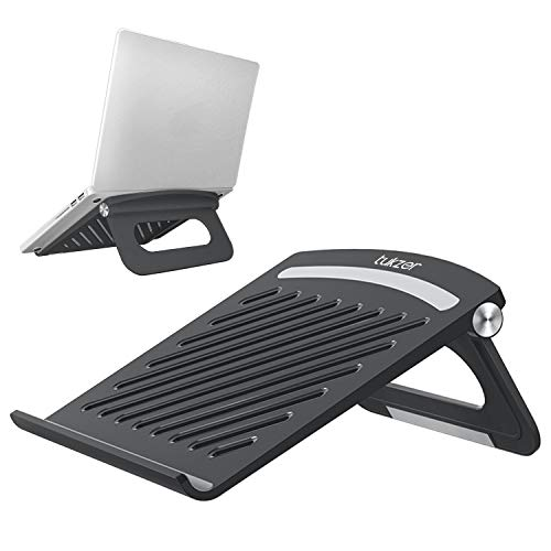 Tukzer Foldable Laptop Stand Lapdesks, Portable Notebook Riser Stand, Ventilation for Cooling, Compatible with Laptops Upto 15.6-inches Laptop (Black)