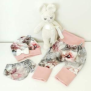 ANGEBOT Set – Hose, Schleifenmütze, Halstuch – Hibiskus Grau Rose (Rose) Baby Mädchen