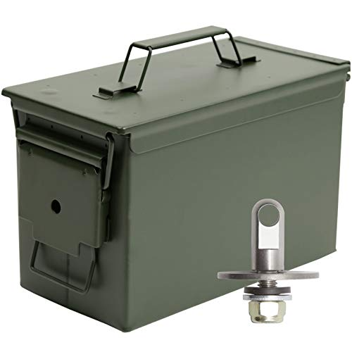 Aolamegs .50 Caliber Tactical Steel Ammo Can M2A1,Air Tight & Waterproof Box, Lockable with Locking Hardware kit (Need Drilling) OD Green