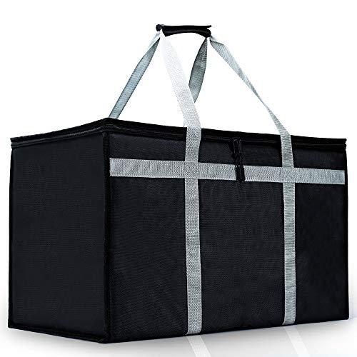 Bolsa de entrega de alimentos aislada para catering, extragrande, comida fría y caliente, bolsas de comestibles para Uber Eats, Instacart, Doordash, Grubhub, Postmates negro