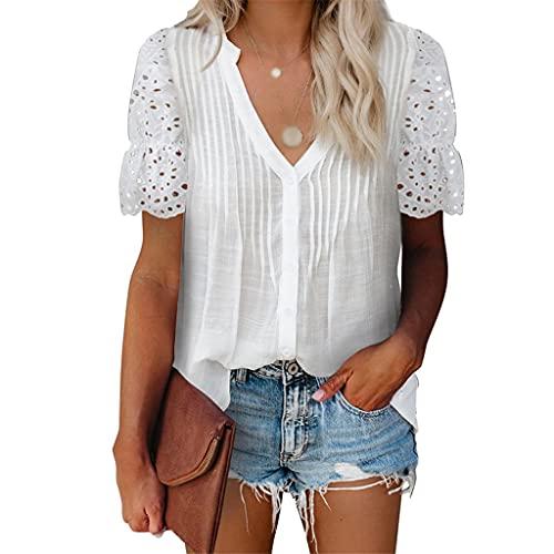 XZJJZ Camisa de Manga Corta de Encaje de Verano Mujeres Casuales Sexy Tops Pure Color Pure Sild Cuello de V-Cuello Camisa de Gasa Superior (Color : White, Size : XLcode)