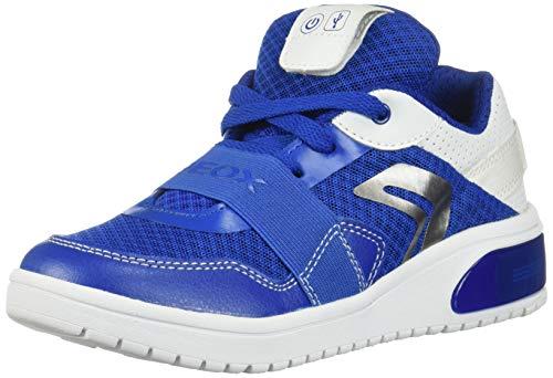 Geox XLED Boy J927QB Jungen High-Top Sneaker,Kinder LED Licht Text,Schnürung,Sportschuh,Mid Cut Sneaker,ROYAL/White,34