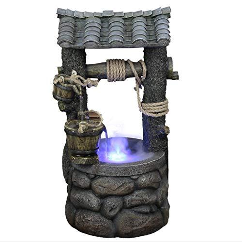 DONGTAISHANGCHENG Waterfall Decoration Indoor and Outdoor Floor Water Fountain 26' High Cascading Resin Well Rock for Yard Garden Indoor Fountain