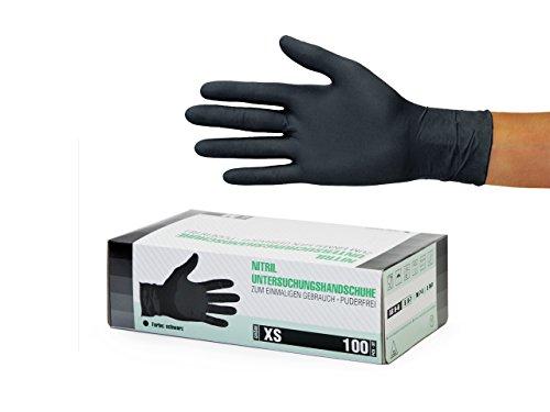 Nitrilhandschuhe 100 Stück Box (XS, Schwarz) Einweghandschuhe, Einmalhandschuhe, Untersuchungshandschuhe, Nitril Handschuhe, puderfrei, ohne Latex, unsteril, latexfrei, disposible gloves, black, X Sma