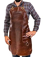 Premium läderförkläde pinne – grillförkläde i helläder – vintage läderförkläde BBQ & kök & bar