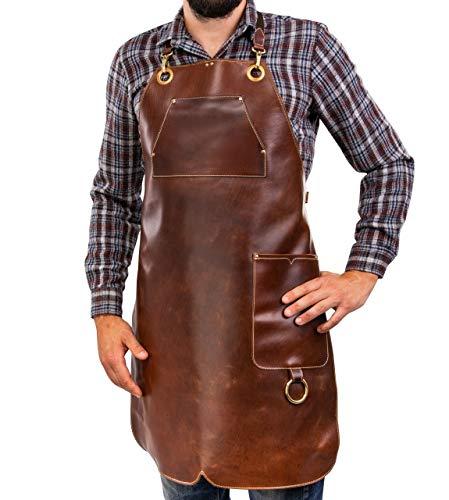Premium Lederschürze Stoke - Vollleder Grillschürze - Vintage Leder Schürze BBQ & Küche & Bar (XXL-XXXL)