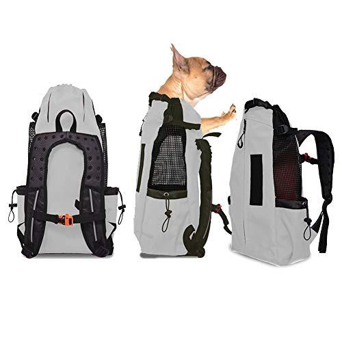 FLKENNEL Hunderucksack für mittelgroße kleine Hunde, Komfortrucksack-Tragetasche, Oberseite offen, weiche Seite, atmungsaktives Netz für Reisen, Wanderabenteuer, Camping im Freien,Gray,L