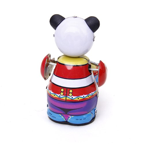 CUTICATE Vintage Sammler Geschenk Retro Stil Wind Up Panda Schlagzeuger Blechspielzeug Mit Schlüssel
