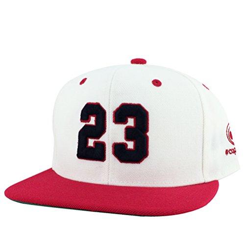 Number #23 White Red Visor Hip Hop Snapback Hat Cap x Air Jordan Color