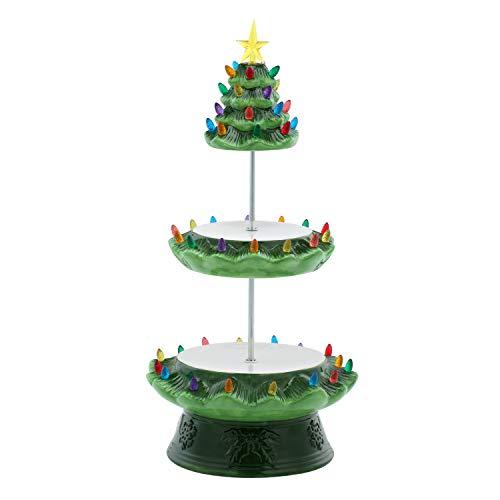 Mr. Christmas 85419 Nostalgic Tree Cake Plate Cupcake, Ceramic, Green