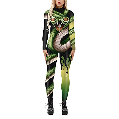 Designs Mujer Disfraz De Halloween Señoras 3D Graphic Impreso Body Zipper Monos Manga Larga Stretch Catsuit Traje Carnaval Cosplay Traje Mono para Halloween,04-S