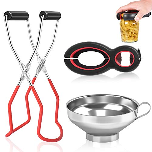 Canning Kit,Canning Jar Lifter Tongs with Grip Handle,6-in-1 Multi Bottle Opener,Stainless Steel...