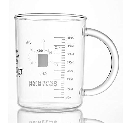 Taza de cafeína, antigoteo, cristal de borosilicato, taza medidora elegante con impresión de vaso de precipitado, calentador de café, 16 onzas/400 ml