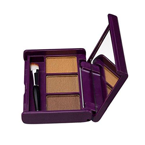MagiDeal 3 En 1 Professionnel Poudre à Sourcils Contour Visage Nez Ombre à Paupières Ombrage Kit pour Maquillage Cosmétique - 03