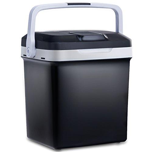 COSTWAY 26L Elektrische Kühlbox Wärmebox Autokühlbox Reisekühlschrank Mini-Kühlschrank DC/AC A++kühl bis 7°C warm von 50-65°C (Schwarz)