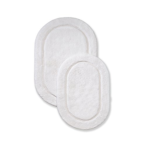 SUPERIOR Non-Slip Bath Rug 2-Pack, Ultra Plush, Soft, and Absorbent 100% Combed Cotton Pile - Traditional Oval Bath Mat Set, White