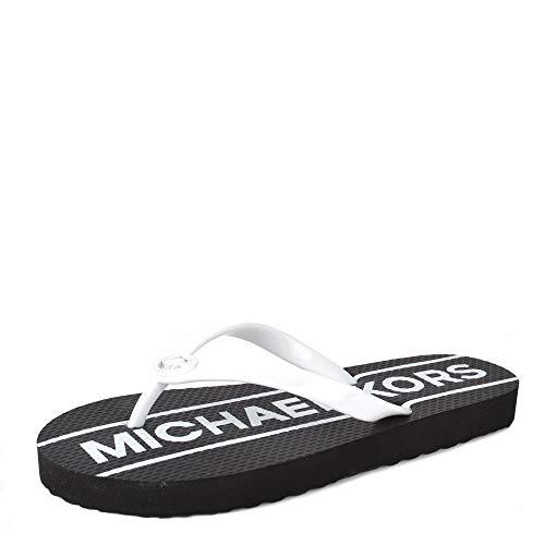Michael Kors Michael by MK Logo Damen Flip-Flops, Schwarze weiße Flip-Flops, Damensandalen 40 Schwarz/WeiB