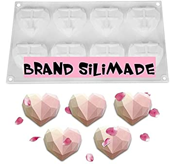 SILIMADE 8 Cup Diamond Chocolate Silicone Dessert Mould Mousses Cheesecake Ice Cream Chiffon Cakes Pan Baking Cupcake Mold