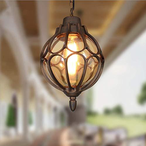 LIUNAIN Lampade a sospensione vintage Plafoniere da esterno impermeabili Lampade a sospensione in alluminio industriale in vetro per portico, corridoio, villa, interno, E27