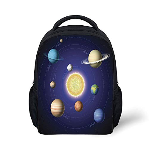 Kids School Backpack Space,Solar System Illustration Showing Planets Around Sun Harmony Galaxy Science Room Image,Multi Plain Bookbag Travel Daypack