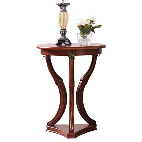 DXIUMZHP Beistelltische Beistelltisch, Eiche Licht Runden Tisch, Garten Massivholz Couchtisch, Balkon Mini Kreative Ecktisch, Umweltfreundliches Material (Color : Brown, Size : 49.5 * 63.5 cm)
