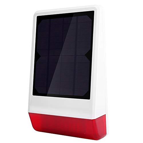 QXQX (Enchufe del Reino Unido Casa Inalámbrica Alarma Seguridad De Seguridad Sonido Luz De Alarma Sirena con Energía Solar 110-240 V