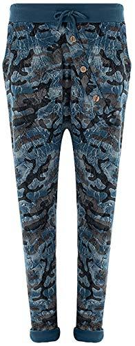 Fashion YOU WANT Damen Jogginghose Gr. 36-50 Sweatpants Sterne Boyfriend Ali Baba Style Anker Camouflage Uni Blumen (46/48, Camou blau)