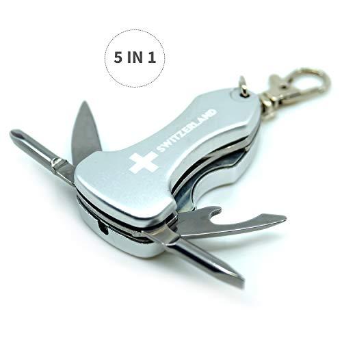 TopSpirit® Schlüsselanhänger Multitool 5 in 1 Switzerland Silber/Silver - Multi Tool mit Messer, Flaschenöffner, 2X Schraubenzieher und LED-Licht