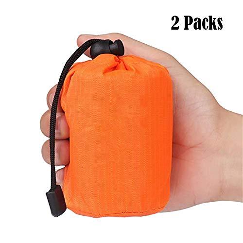 Elitlife Notfallzelt,Biwaksack Survival Schlafsack warm Outdoor Tube Zelt wasserdicht leicht hitzeabweisend Kälteschutz Ultraleicht Rettungszelt für Camping im Freien und Wandern (2 Pack - Orange)