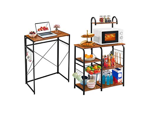 "Mr IRONSTONE 31.5"" Folding Computer Desk & Vintage Kitchen Baker's Rack Utility Storage Shelf 35.5' Microwave Stand 3-Tier+4-Tier Shelf for Spice Rack Organizer Workstation with 10 Hooks"