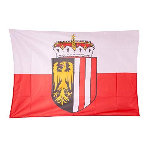 Fahnen Kössinger, Hissflagge im Querformat, Fahne Bundesland Oberösterreich, Hissfahne mit Wappen, hochwertiger Siebdruck, Brillante Farben, weiß-rot, reißfest, 150 x 100 cm, 1,5 m² Fläche