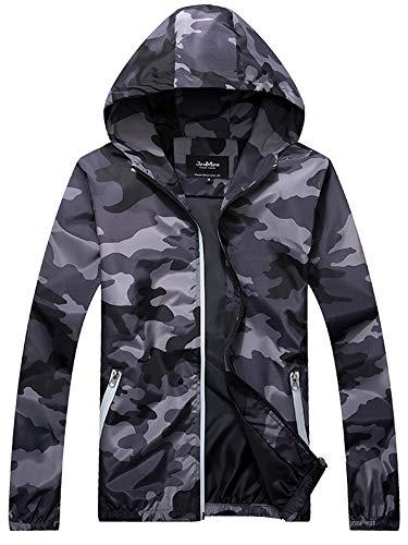 AAP Chaqueta de camuflaje para hombre, cortavientos, ligera, resistente al viento, con bolsillos con cremallera, para deportes al aire libre, senderismo, caza